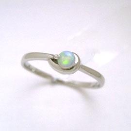 オパール K18 ホワイトゴールド リング レディース 指輪・エウロペ 18K 18金 誕生日プレゼント 華奢 シンプル ファッションリング 可愛い ゆびわ ジュエリー ブランド 宝石 おしゃれ