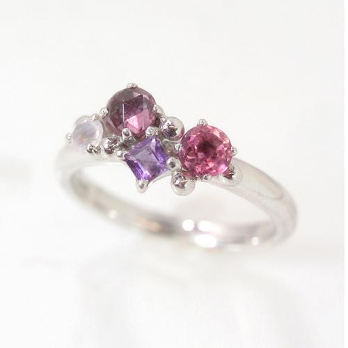 パープルグラデーション ホワイトゴールド リング レディース 指輪・ローレット 誕生日プレゼント 華奢 シンプル ファッションリング 可愛い ゆびわ ジュエリー ブランド 宝石 おしゃれ