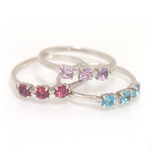 カラーストーン ホワイトゴールド リング レディース 指輪・フィナラティーモ 華奢 シンプル ファッションリング 可愛い ゆびわ ジュエリー ブランド カラフル 宝石 おしゃれ