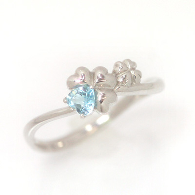 ブルートパーズ ホワイトゴールド リング レディース 指輪・ホワイトクローバー 華奢 シンプル ファッションリング 可愛い ゆびわ ジュエリー ブランド 宝石 おしゃれ