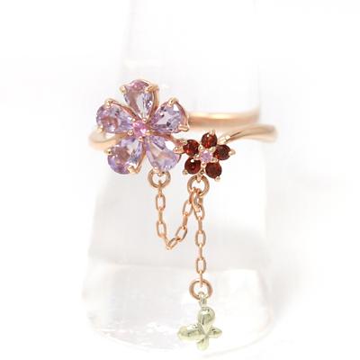 ピンクグラデーション ピンクゴールド リング レディース 指輪・レテューラ 華奢 シンプル ファッションリング 可愛い ゆびわ ジュエリー ブランド 宝石 おしゃれ