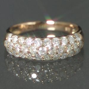 1.0ctダイヤモンド K18 ピンクゴールド イエローゴールド リング レディース 指輪・ラヴィエベル 華やかなパヴェが大人気! 18K 18金 誕生日プレゼント ファッションリング 可愛い ゆびわ ジュエリー クリス ブランド 宝石 おしゃれ