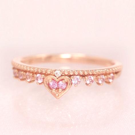 ダイヤモンド ピンクサファイアリング レディース 指輪・クローネル (サファイア/サファイヤ) 誕生日プレゼント 華奢 シンプル ファッションリング 可愛い ゆびわ ジュエリー ブランド 宝石 おしゃれ