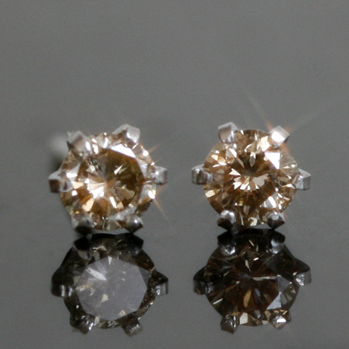 0.2ct ブラウンダイヤモンド ホワイトゴールド・ルジアー 華奢 シンプル ジュエリー 10K K10 10金 スタッドピアス 一粒ピアス 0.2カラット ダイアモンド ブランド 宝石