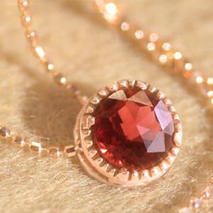 ガーネット ピンクゴールドネックレス レディース ペンダント・ディフェラ(1月の誕生石) 華奢 シンプル ジュエリー ブランド 宝石