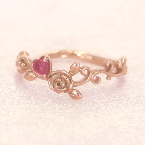 【10/5価格改定】ルビー 7月誕生石リング K10 ピンクゴールド リング レディース 指輪・ヴェシティアーナ バラ 薔薇 誕生日プレゼント 華奢 シンプル ファッションリング 可愛い ゆびわ ジュエリー ブランド 宝石 おしゃれ