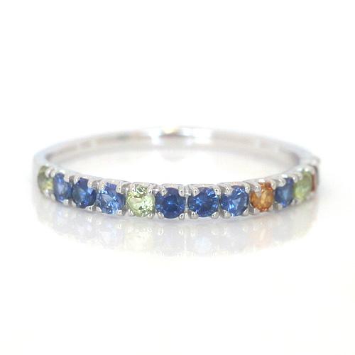 サファイア ホワイトゴールド リング レディース 指輪・スフィアス ブルーサファイア シトリン ペリドットでお作りしたグラデーションエタニティリング レディース (サファイア/サファイヤ) 誕生日プレゼント 華奢 シンプ ブランド 宝石 おしゃれ