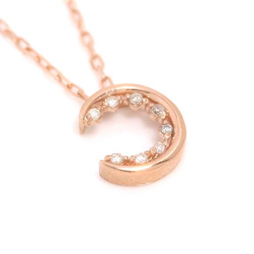 ダイヤモンド ピンクゴールドネックレス レディース ペンダント・ルナティー誕生日プレゼント 華奢 シンプル ジュエリー ブランド 宝石