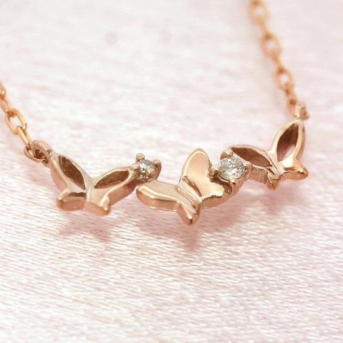 ダイヤモンド ピンクゴールドネックレス レディース ペンダント・リリフレイヤ 誕生日プレゼント 華奢 シンプル ジュエリー ブランド 宝石