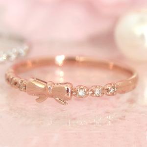 ダイヤモンド ゴールド リング レディース 指輪・ペシェ 愛らしいリボンのエタニティリング レディース 華奢 シンプル ファッションリング 可愛い ゆびわ ジュエリー ブランド 宝石 おしゃれ