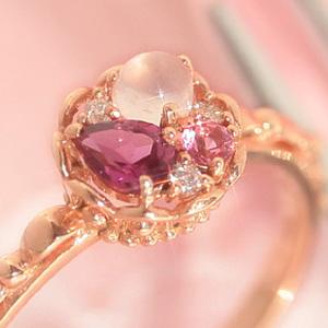ピンクグラデーション ピンクゴールド リング レディース 指輪・タルトロゼ 華奢 シンプル ファッションリング 可愛い ゆびわ ジュエリー ブランド 宝石 おしゃれ