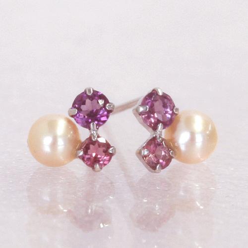 ピンクグラデーション ホワイトゴールドピアス レディース・ベリルン 華奢 シンプル 可愛いピアス ジュエリー ブランド 宝石