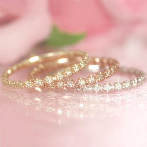 21粒のダイヤが煌く極上フラワーエタニティ♪ ダイヤモンド ゴールド リング レディース 指輪・トリフォリウム 華奢 シンプル ファッションリング 可愛い ゆびわ ジュエリー ブランド 宝石 おしゃれ