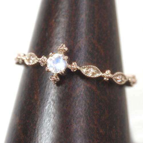 ブルームーンストーン 6月誕生石リング ダイヤモンド ピンクゴールド リング レディース 指輪・ルナプリュム 指輪 誕生日 プレゼント アンティークジュエリー風 クラシカル 華奢 シンプル ファッションリング 可愛い ゆびわ クリ ブランド 宝石 おしゃれ
