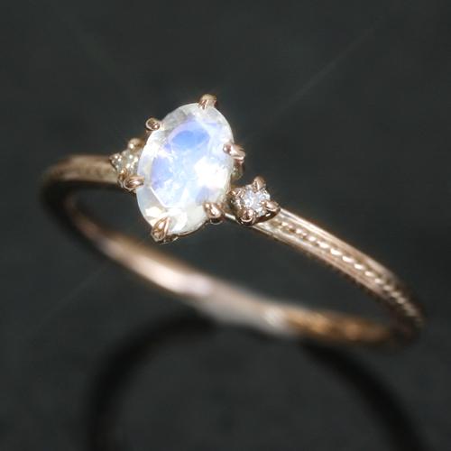 ブルームーンストーン 6月誕生石リング ダイヤモンド ピンクゴールド リング レディース 指輪・ルナクス 指輪 誕生日 プレゼント 華奢 シンプル ファッションリング 可愛い ゆびわ ジュエリー ブランド 宝石 おしゃれ