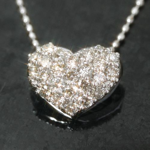 0.5カラットダイヤモンド 18K ホワイトゴールドネックレス レディース ペンダント・ラテア ハートパヴェ 18金 カラーストーン モチーフ ゴージャス 大人可愛い かわいい 華やか パーティー 人気 天然ダイヤモンド 0. ブランド 宝石