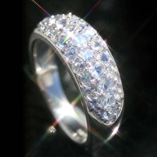 ブルームーンストーン 6月誕生石リング K10 パヴェ ピンクゴールド ホワイトゴールド イエローゴールド リング レディース 指輪・ムーンセレナーデ パヴェリング レディース 指輪 華奢 シンプル ファッションリング 可愛い ゆ