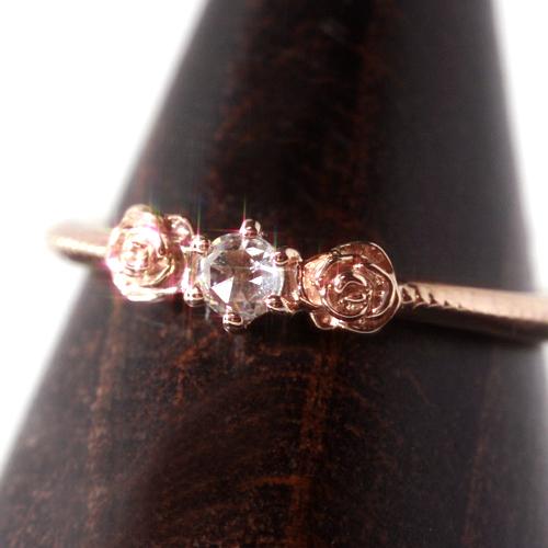 ダイヤモンド K10 ピンクゴールド リング レディース 指輪・ベディフィール ピンキーリング対応 サイズ2号から 10K 10金 薔薇 ローズカット アンティークジュエリー風 デザイン 華奢 重ねづけ ファランジリング ミデ ブランド 宝石 おしゃれ