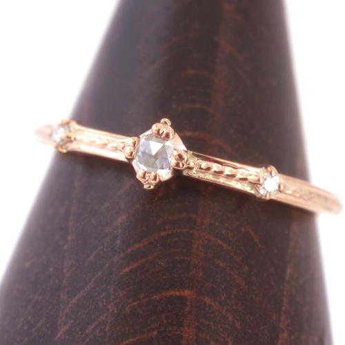 【10/5価格改定】ダイヤモンド K10 ピンクゴールドリング レディース 指輪・アミティエル ピンキーリング対応 サイズ2号から 10K 10金 薔薇 ローズカット アンティークジュエリー風 デザイン 華奢 重ねづけ ファランジリング ミディリ