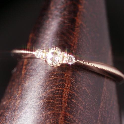 ローズカット ダイヤモンド K10 ピンクゴールド リング レディース 指輪・ディファン ピンキーリング対応 サイズ2号から 10K 10金 クラシカル 重ねづけ デザイン ファランジリング ミディリング 関節リング 誕生日プ ブランド 宝石 おしゃれ