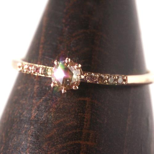 0.15ctブラウンダイヤモンド ピンクゴールド リング レディース 指輪・レピュタル 誕生日プレゼント 華奢 シンプル ファッションリング 可愛い ゆびわ ジュエリー ブランド 宝石 おしゃれ