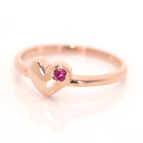 ルビー 7月誕生石リング K10 ピンクゴールド リング レディース 指輪・ネックレス レディース ペンダント・リコラン 華奢 シンプル ファッションリング 可愛い ゆびわ ジュエリー ブランド 宝石 おしゃれ