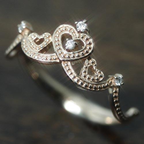 ダイヤモンド ゴールド リング レディース 指輪・メレーヌ (ティアラ/王冠) 誕生日プレゼント 華奢 シンプル ファッションリング 可愛い ゆびわ ジュエリー ブランド 宝石 おしゃれ