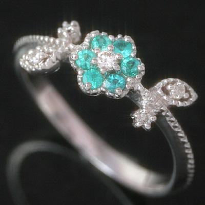 パライバトルマリン ダイヤモンドリング レディース 指輪・カッシュレリア 華奢 シンプル ファッションリング 可愛い ゆびわ ジュエリー ブランド 宝石 おしゃれ