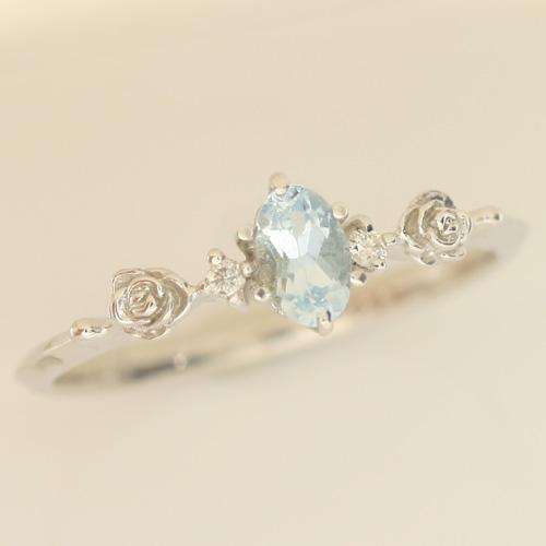 アクアマリン ダイヤモンドリング レディース 指輪・ハッシュティラ 華奢 シンプル ファッションリング 可愛い ゆびわ ジュエリー ブランド 宝石 おしゃれ