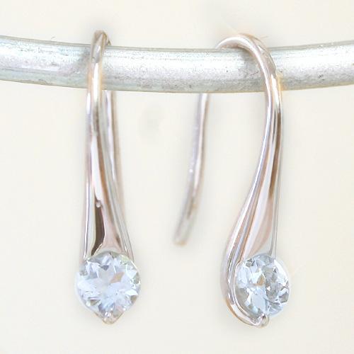 アクアマリン ホワイトゴールドピアス レディース・サナ 華奢 シンプル 小粒 可愛いピアス ジュエリー ブランド 宝石