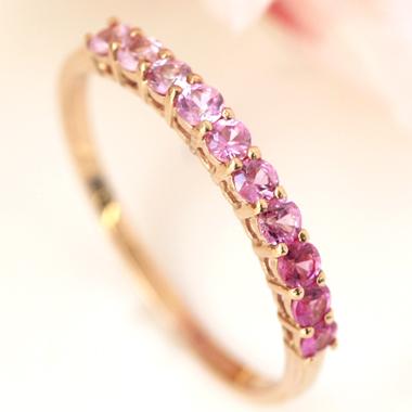 ピンクサファイア K10 ピンクゴールド リング レディース 指輪・紅吉野 桜色 グラデーション エタニティリング ピンキーリング対応 サイズ1号から 華奢 シンプル 重ねづけ 10K 10金 ホワイトゴールド さくら エタニ ブランド 宝石 おしゃれ