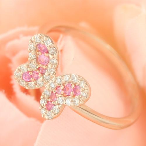 ダイヤモンド ピンクサファイアゴールド リング レディース 指輪・レグリウス (サファイア/サファイヤ) 華奢 シンプル ファッションリング 可愛い ゆびわ ジュエリー ブランド 宝石 おしゃれ
