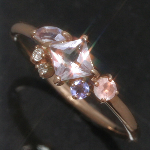 ローズアメジスト ブルームーンストーン 10K K10 10金 リング レディース 指輪・ロリュール ファッションリング 可愛い ゆびわ ジュエリー デザイン ピンクゴールド ホワイトゴールド ローズクオーツ タンザナイト ダイヤモンド ブランド 宝石 おしゃれ