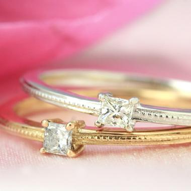 【最安値に挑戦!】プリンセスカット 一粒ダイヤモンド K10 ピンクゴールド イエローゴールド ホワイトゴールド リング レディース 指輪・ディシーナ ピンキーリング対応 重ねづけ ファランジリング ミディリング 関節リン ブランド 宝石 おしゃれ