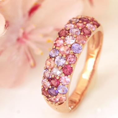 リング 指輪 10種類のピンクジュエル 18K ピンクゴールド レディース・桜吹雪 K18 18金 ピンクダイヤモンド パパラチアサファイア 天然石 パヴェリング ジュエリー アクセサリー ファッションリング さくら 可愛い 人気 春 おすすめ カラーストーン ブランド 宝石 おしゃれ