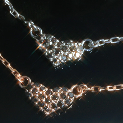 ブラックダイヤモンド カラーゴールドネックレス レディース ペンダント・リセ・ペレテリア・ノワール 華奢 シンプル ジュエリー ブランド 宝石