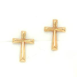 十字架の18金ピアス