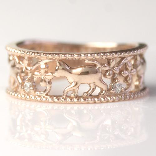 猫 リング レディース 指輪 ダイヤモンド K10 ピンクゴールド ねこ ネコ モチーフ ピンキーリング レディース・ミウミウ アニマルジュエリー サイズ1号から モチーフト 女性 ファランジリング ミディリング 関節リング ブランド 宝石 おしゃれ