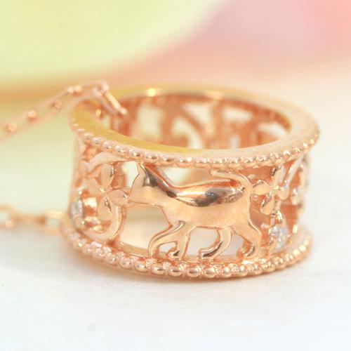 【あす楽対応】猫 ネックレス レディース ダイヤモンド 10K ペンダント・ミウミウ ねこ ネコ アニマルジュエリー モチーフ 大人かわいい 誕生日プレゼント 女性 K10 10金 動物モチーフ 可愛いネックレス ブランド 宝石