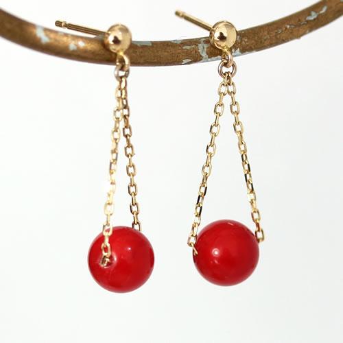赤珊瑚 赤さんご ピアス レディース ジュエリー・コラルアーレ K10 10K 10金 ゴールド ピンクゴールド ホワイトゴールド 揺れる 華奢 シンプル サンゴ 赤 還暦祝い おすすめ 高級 上品 可愛いピアス 誕生日プレゼント 女性 ブランド 宝石