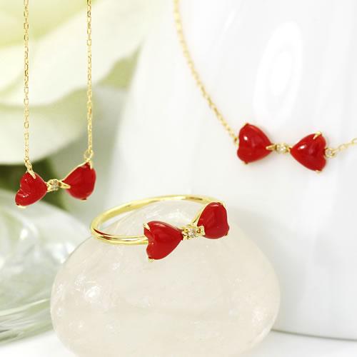 赤珊瑚 赤さんご ダイヤモンド リング 指輪 レディース ジュエリー・ルボルティ K18 18K 18金 ゴールド ピンクゴールド ホワイトゴールドリング リボン 還暦祝い おすすめ 高級 上品 誕生日プレゼント 女性 3月誕 ブランド 宝石 おしゃれ