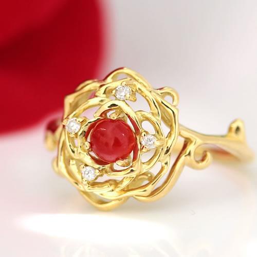 赤珊瑚 赤さんご ダイヤモンド リング 指輪 レディース ジュエリー・ローゼミリア K18 18K 18金 ゴールド ピンクゴールド ホワイトゴールド 薔薇 バラ 還暦 高級 上品 誕生日プレゼント 女性 可愛い ゆびわ クリ ブランド 宝石 おしゃれ