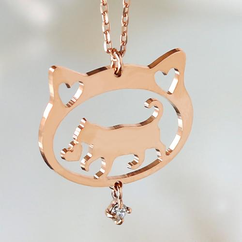 猫 ネックレス レディース ジュエリー ペンダント ダイヤモンド・ラブルナ K10 10K 10金 ピンクゴールドネックレス ねこ ネコ アニマルジュエリー モチーフ 可愛い 誕生日プレゼント 女性 ブランド 宝石