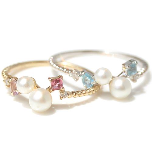 リング 指輪 レディース ジュエリー 真珠 淡水パール ダイヤモンド・マリュー ファッションリング K10 10K 10金 ゴールド ホワイトゴールド 華奢リング かわいい 重ねづけ マルチ 6月誕生石リング 誕生日プレゼント 女性 ブランド 宝石 おしゃれ