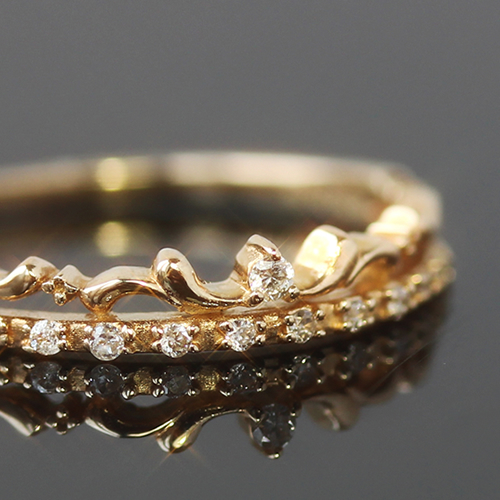 リング 指輪 レディース ジュエリー ダイヤモンド ダイアモンド・ラプーレ K10 10K 10金 ピンキーリング 華奢 きらきら かわいい 二連風 クラウン 王冠 ティアラ 誕生日プレゼント 女性 可愛い ゆびわ クリスマス ブランド 宝石 おしゃれ