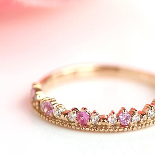 指輪 リング レディース ジュエリー・プリマリベラ ピンク サファイア ダイヤモンド ゴールド ピンキーリング ピンクゴールド ホワイトゴールド クラウン プリンセス ティアラ 誕生日プレゼント 女性 かわいいリング 華奢 ブランド 宝石 おしゃれ