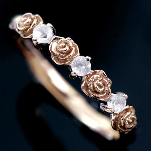 0.1ctダイヤモンド 18K ピンクゴールド ホワイトゴールドリング レディース 指輪・ミリアン・ローズ 大人気のバラ 薔薇 モチーフ ファッションリング 可愛い ゆびわ ジュエリー K18 18金 おしゃれ デザイン かわいい バラの花 ロマンチック ブランド 宝石