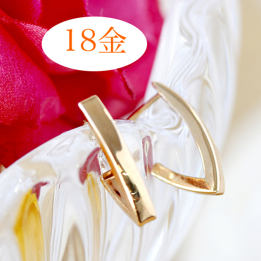 【あす楽対応】18K 18金 K18 スタッドピアス レディース ジュエリー・ルクレーヌ 華奢 シンプル 地金 おしゃれデザイン オフィス 普段使い デザイン性高い デイリー ライン 可愛いピアス 誕生日プレゼント 女性 ギフト ゴールド ホワイトゴールド ブランド