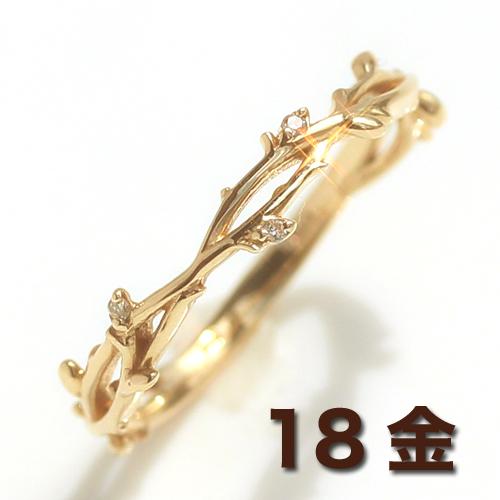 18K ダイヤモンド リング 指輪 レディース・リューシュ K18 18金 ピンクゴールド ホワイトゴールド 茨 葉っぱ 棘 トゲ 蔦 エレガント ゴージャス 大人 華奢 シンプル デザイン ファッションリング ダイアモンド 可愛い ゆびわ ボタニカル ブランド 宝石 おしゃれ