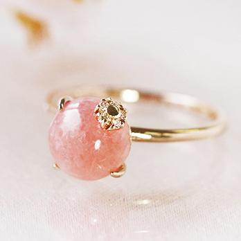 リング 指輪 レディース ジュエリー ピンクゴールド ゴールド インカローズ ダイヤモンド ゴールドリング・サリュレ K10 10K 10金 誕生石リング 華奢 豪華 エレガント 大粒 大人女性 誕生日プレゼント 女性 ブランド 宝石 おしゃれ